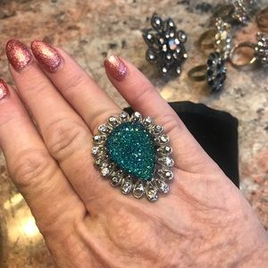 Blue Ring large statement ring lots of bling